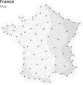France map illustration in blockchain technology network style on white background. Block chain polygon peer to peer network connected lines technique. Cryptocurrency fintech business concept