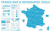 France Map - Detailed Info Graphic Vector Illustration