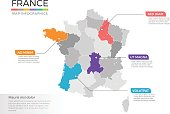 France map infographics vector template with regions and pointer marks