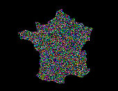 France map. Isolated on black background. Vector illustration. Pointillism style.