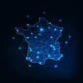 France map outline with stars and lines abstract framework. Communication, connection concept. Modern futuristic low polygonal, wireframe, lines and dots design. Vector illustration.