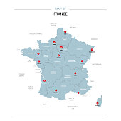 France vector map. Editable template with regions, cities, red pins and blue surface on white background.