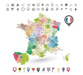 France map with flag and navigation icons isolated on white.