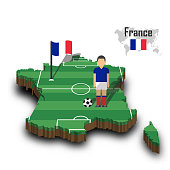 France national soccer team . Football player and flag on 3d design country map .