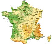 Highly detailed physical map of France in vector
