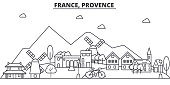 France, Provence architecture line skyline illustration. Linear vector cityscape with famous landmarks, city sights, design icons. Editable strokes