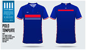 France Team Polo t-shirt sport template design for soccer jersey, football kit or sportwear. Classic collar sport uniform in front view and back view. T-shirt mock up for sport club. Vector Illustrati