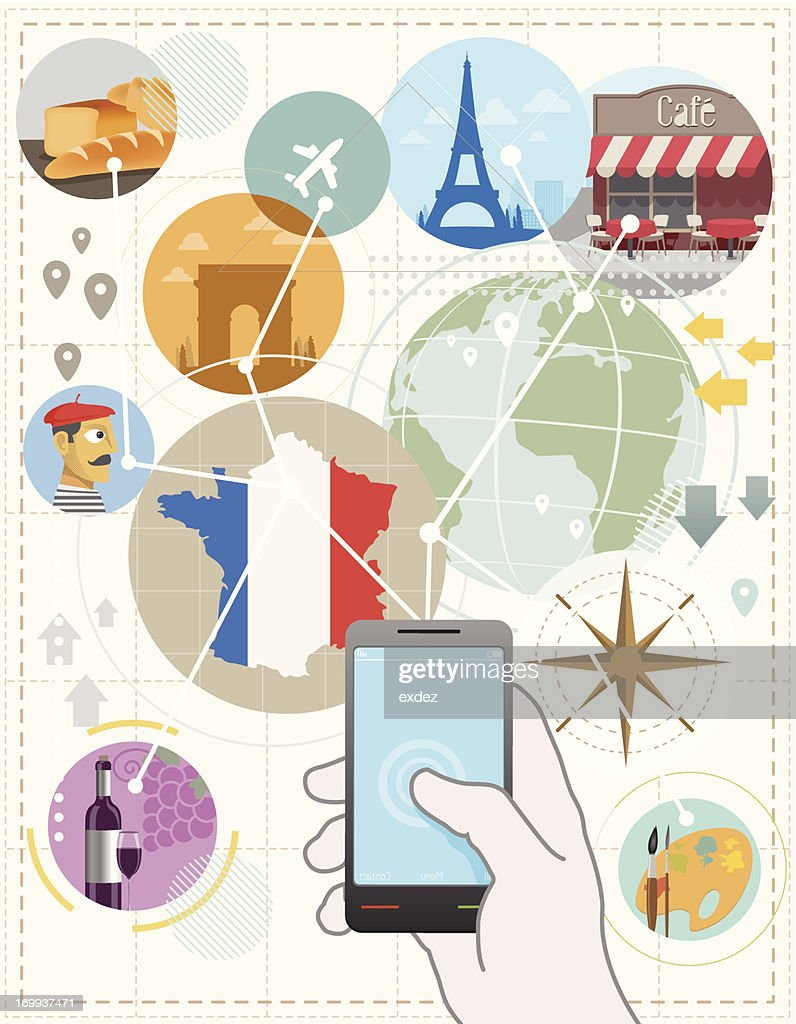 France travel plan by mobile : Vector Art