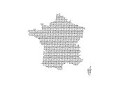 France vector map illustration using binary digits or numbers on light background to mean digital country and advancement of technology