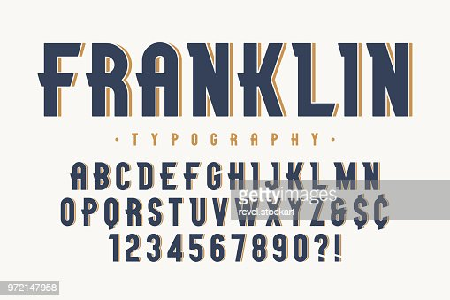 Franklin trendy vintage display font design, alphabet : Vector Art