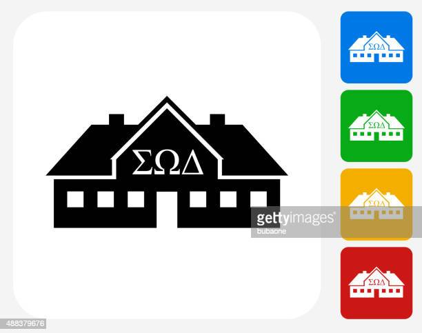 Frat House Icon Flat Graphic Design