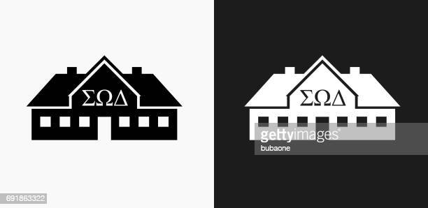 Frat House Icon on Black and White Vector Backgrounds