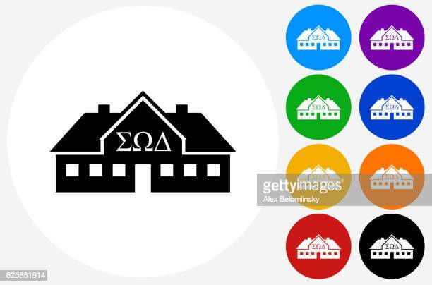 Frat House Icon on Flat Color Circle Buttons