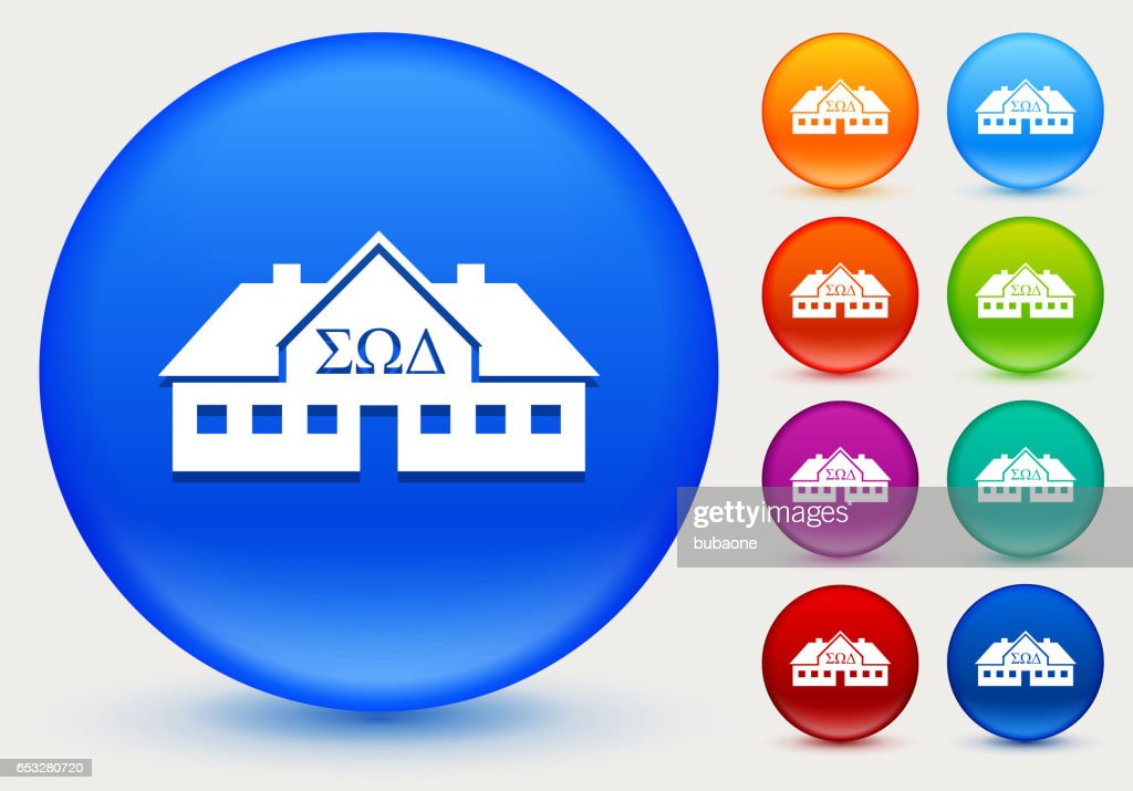 Frat House Icon on Shiny Color Circle Buttons : Vector Art