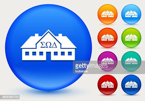 Frat House Icon on Shiny Color Circle Buttons : Vectorkunst