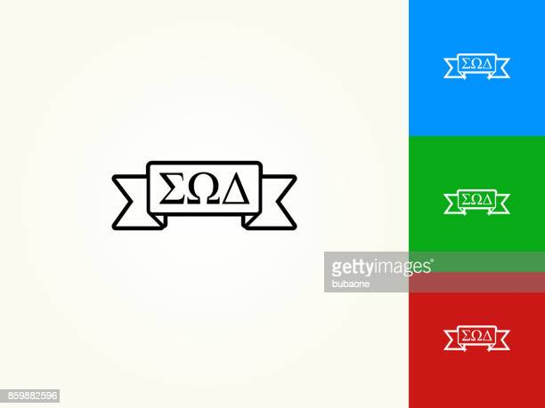 Fraternity Ribbon Black Stroke Linear Icon
