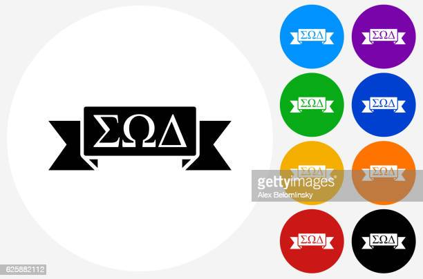 Fraternity Ribbon Icon on Flat Color Circle Buttons