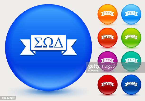 Fraternity Ribbon Icon on Shiny Color Circle Buttons