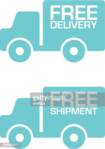 Free Delivery and Shipment Truck Labels : Vector Art
