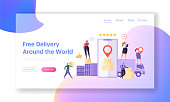 Free Delivery Around World Landing Page. Mobile App Smartphone Screen show Paper Box Stack with Geotag. Businessman Carry Cargo to Truck Website or Web Page Concept Flat Cartoon Vector Illustration