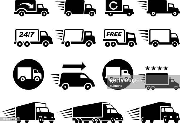 Free Delivery Trucks black and white vector icon set
