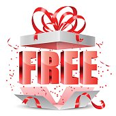 opened gift box with free content inside negle Images