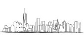 Free hand sketch of New York City skyline. Vector illustration eps 10.