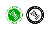 GMO free icon. Vector green non GMO logo with DNA sign for healthy food package design
