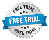 free trial 3d silver badge with blue ribbon