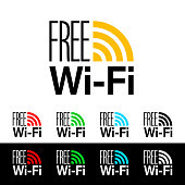 Free wifi icon symbol. Vector wifi sign with orange, red, green, blue and black wave signal icons