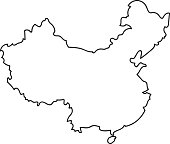 Freehand China map sketch on white background. Vector illustration.