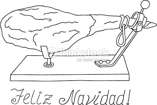 freehand drawn vector illustration spanish whole dry cured ham on horizontal stand christmas new year greetings coloring page logo poster menu template