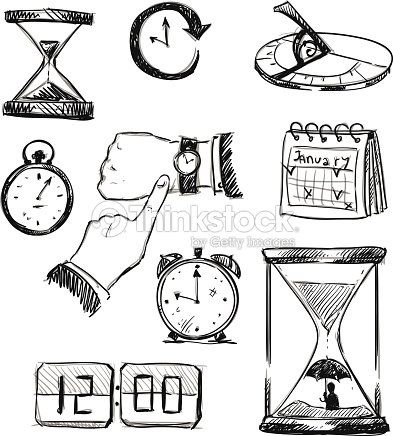 Freehand Sketch Of Time Symbols Time Icons Vector Illustration