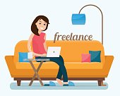 Freelancer woman with computer on sofa at home. Flat style vector illustration.
