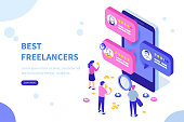 Freelancers service concept banner with text place. Can use for web banner, infographics, hero images. Flat isometric vector illustration.