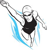 Isolated illustration of female swimmer underwater