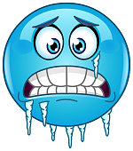 Blue cold freezing face emoticon with icicles clinging to its jaw and cheek