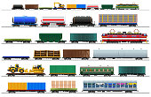 Freight train cars. Railway cargo carriage set. Color vector isolated on white background illustration. Silhouette