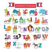Cute cartoon french illustrated alphabet with animals. Alphabet francais. Vector illustration