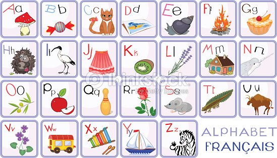 Fran ais alphabet avec des photos clipart vectoriel - Alphabet francais maternelle ...