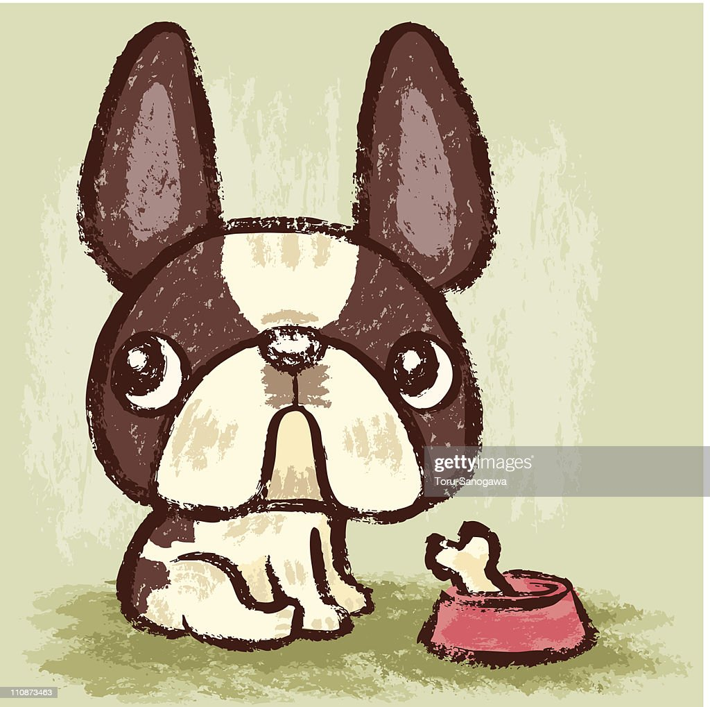 French Bulldog and meal : Vector Art