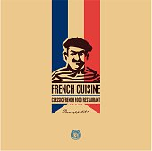 French food, French cuisine restaurant logo, French man icon, bon appetit, bon appetit