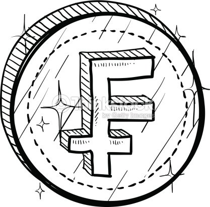 French Franc Currency Symbol On Coin Sketch Vector Art Thinkstock
