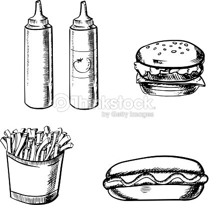 French Fries Burger Hot Dog And Condiment Vector Art Thinkstock