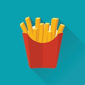 French fries. Vector illustration, flat design. French fries in paper box. French fries in isolated flat design with long shadow. French fries fast food. French fries in a red package.