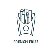 French fries vector line icon, outline concept, linear sign