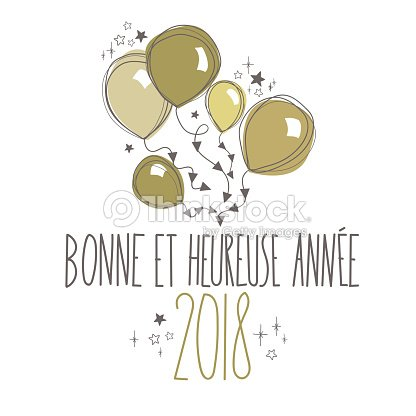 french happy new year card vector art