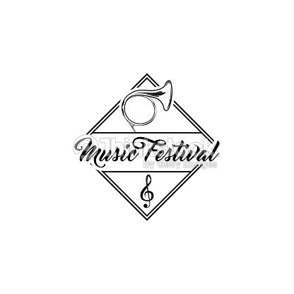 French Musical Horn Music Festival Symbol Label Treble Clef Tuba