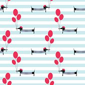 French style dog holding balloons seamless pattern on striped background. Cute cartoon parisian dachshund vector illustration. French style dressed dog with beret and striped frock.