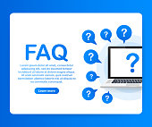 Frequently asked questions FAQ banner. Computer with question icons. Vector stock illustration.